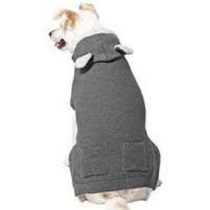 Frisco Bear Hooded Dog & Cat Sweater, Gray, Small